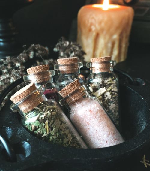 herbs in cauldron